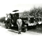 Richard Breland in U.S. Army in England. In front of his truck at the Motor Pool.