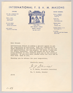 Letter from J.J. Davis and the International F. & A. M. Masons