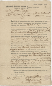 Bill of Sale for ten slaves to Thomas Wilson of Colleton District, South Carolina, October 5, 1807