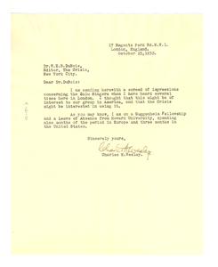 Letter from Charles H. Wesley to W. E. B. Du Bois