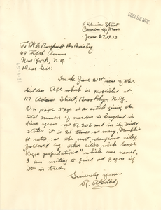 Letter from R. A. Gilbert to W. E. B. Du Bois
