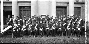 Masonic group, Scottish Rite, in front of lodge] [acetate film photonegative