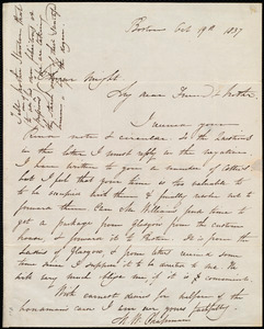 Letter from Maria Weston Chapman, Boston, [Mass.], to Elizur Wright, Oct. 19th, 1837