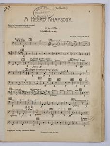 Goldmark, Rubin / NEGRO RHAPSODY, A, Percussion PART.