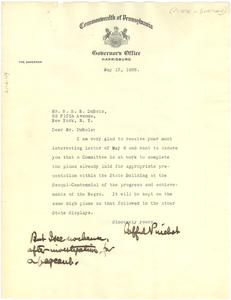 Letter from Pennsylvania Office of the Governor to W. E. B. Du Bois