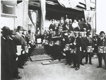 Schomburg among Masons and Odd Fellows at the cornerstone laying of the Ionic Temple, 165 or 167 Claremont Avenue, Brooklyn, N.Y