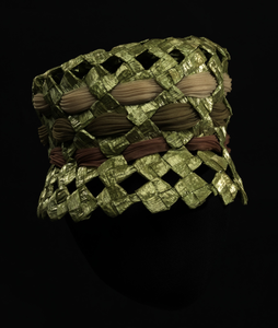 Green raffia lamp shade hat from Mae's Millinery Shop