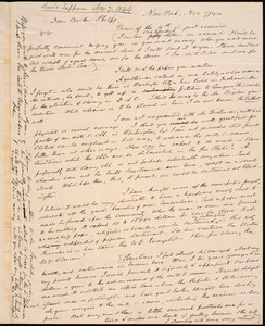 Letter from Lewis Tappan, New York, to Amos Augustus Phelps, 1844 November 7