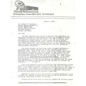 Letter, Dr. Robert S. Peterkin, March 8, 1983.