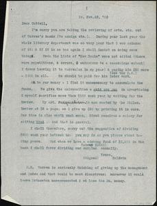 Baldwin, James Mark, 1861-1934 typed letter (copy) to J.Mc. K. Cattell, Princeton, N.J., 23 November 1903