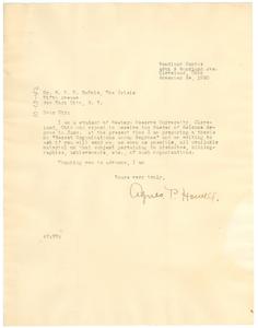 Letter from Agnes P. Howell to W. E. B. Du Bois