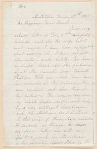 Ruth Brown Thompson autograph letter signed to Thomas Wentworth Higginson, North Elba, [N.Y.], 27 December 1859