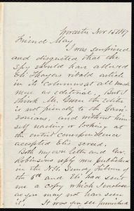 Letter from Joseph Avery Howland, Worcester, [Mass.], to Samuel May, Nov. 15, 1887