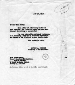 Letter from Esther Davis to President Harry S. Truman, with a Reply by Matthew Connelly