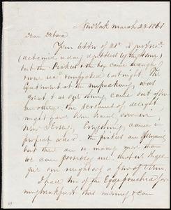 Letter from Richard Warren Weston, New York, to Deborah Weston, March 23, 1861