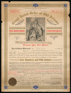 Certificate of endowment for the Grand United Order of Odd Fellows