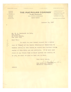 Letter from MacMillan Company to W. E. B. Du Bois