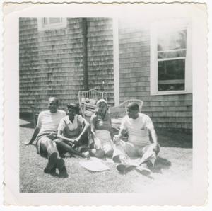 Digital image of Taylor family couples posing on Martha's Vineyard