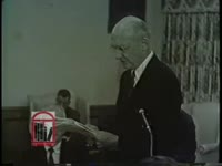WSB-TV newsfilm clip of a member of the Committee on Education of the Board of Regents of the University System of Georgia reading from a prepared statement regarding applications of African American students Charlayne Hunter and Hamilton Holmes to the University of Georgia, Atlanta, Georgia, 1960 October 21
