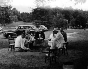 Field camp school for undernourished children. Dr. Reynolds, Dr. Kendrick, Dr. Wilkins