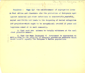Thumbnail for Pan Africa Congress resolution