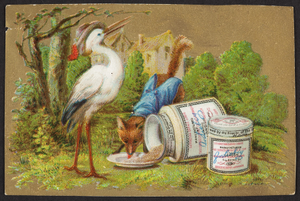 Trade card for Extractum Carnus Liebig, meat extract, Liebig's Extract of Meat Company, London, undated