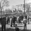 White protestors gathering along Dexter Avenue in front of the state judicial building to prevent a civil rights protest march from Dexter Avenue Baptist Church to the Capitol in Montgomery, Alabama.