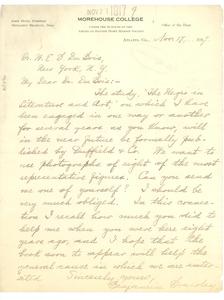 Letter from Benjamin Brawley to W.E.B. Du Bois