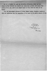 Plaintiff's Exhibit filed in Dorothy E. Davis, et al. versus County School Board of Prince Edward County, Virginia, Civil Action No. 1333.