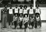 Roosevelt Junior High School basketball team, Loren Harlow is wearing number 28 - City Champions. Coach is Dave Bullock, brother of 'Brown' Bullock.