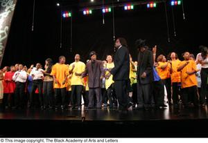 Curtis King on Stage with Young Performers Hip Hop Broadway: The Musical