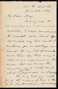 Letter from Oliver Johnson, [New York], to Samuel May, June 20, 1887