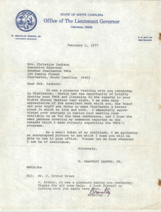 Letter from W. Brantley Harvey, Jr. to Christine Jackson, February 1, 1977