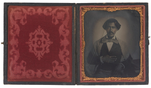 Tintype of John H. Copeland in an embossed leather case