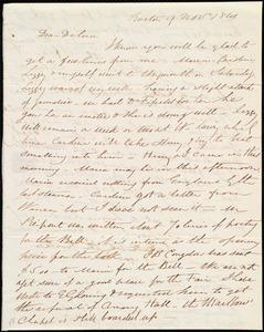 Letter from Henry Grafton Chapman, Boston, [Mass.], to Deborah Weston, 9 Nov. 1841