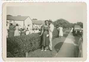 Digital image of a couple outside a gathering on Martha's Vineyard