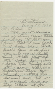 Letter from William Tillman to Jephtha Lodge, No. 11, 1920 August 14