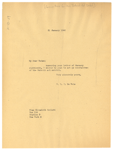 Letter from W. E. B. Du Bois to Committee for the Detroit Art Exhibition