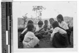 Girls playing marbles, Masan, Korea, ca. 1920-1940