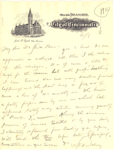 Letter from Wendell P. Dabney to W. E. B. Du Bois