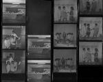 Set of negatives by Clinton Wright including Recreation Association at Doolittle, Doolittle piano recital, Victory Choir, NCAW raffle winner (Turner), Highland school girls basketball team, and Sarann at Shops, 1970