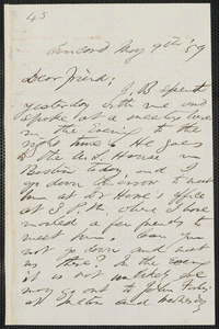 F. B. Sanborn autograph letter signed to [Thomas Wentworth Higginson], Concord, 9 May [18]59