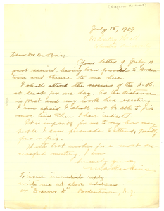 Letter from W. A. Hawkins to W. E. B. Du Bois