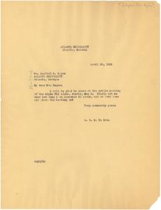 Letter from W. E. B. Du Bois to Alpha Phi Alpha