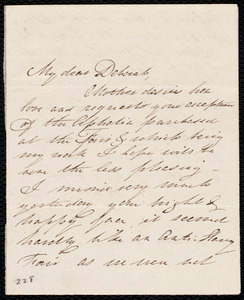 Letter from Deborah Weston to Emma Forbes Weston and Lucia Weston, [183?]