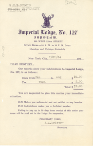 Invoice from Imperial Lodge No. 127, Order of Elks