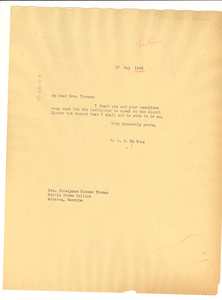 Letter from W. E. B. Du Bois to Morris Brown College