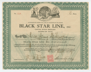 Stock certificate issued by Black Star Line to Amy McKenzie