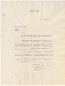 Letter from A. B. Wright to W. E. B. Du Bois