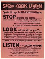 Stop Look Listen. Special Message to Self-Respecting Negroes